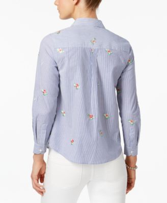 45c2c1ede88 Charter Club Petite Cotton Printed Shirt, Created for Macy's - Cloud ...