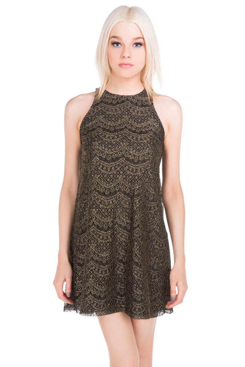 Metallic Lace Shift Dress