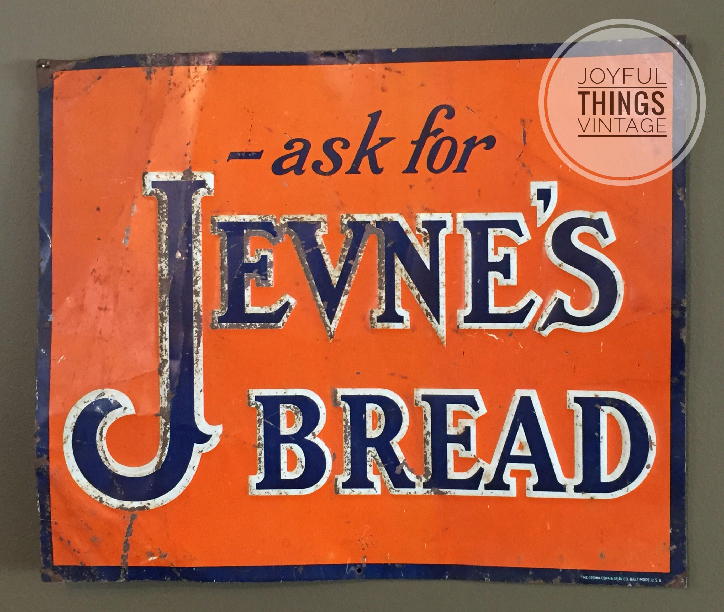 Vintage Advertising Jevne Bread Sign Tin Non Porcelain c 1920
