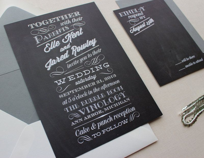 Chalkboard Modern Unique Wedding Invitations - different fonts, chalkboard background