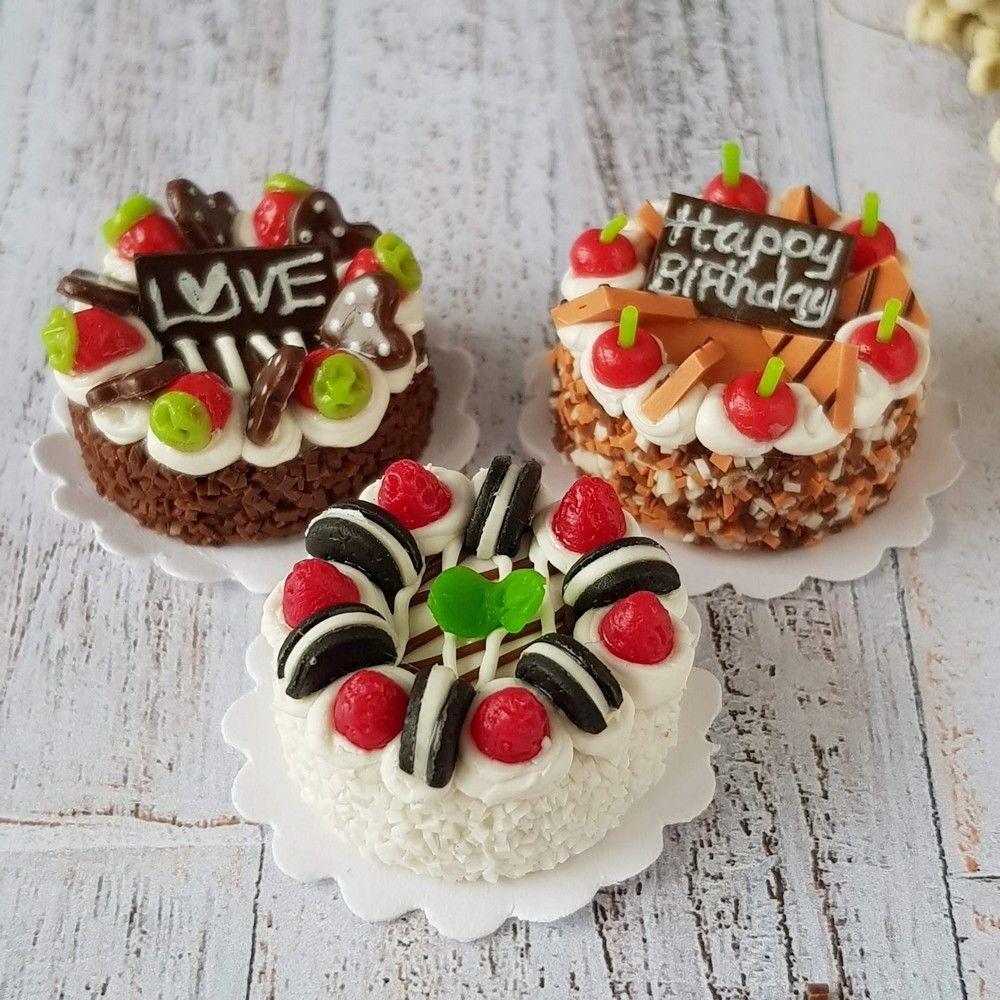 Dollhouse Miniatures Mix Fruit Pie Bakery Mini Tiny Pastries Dessert Sweet Decor