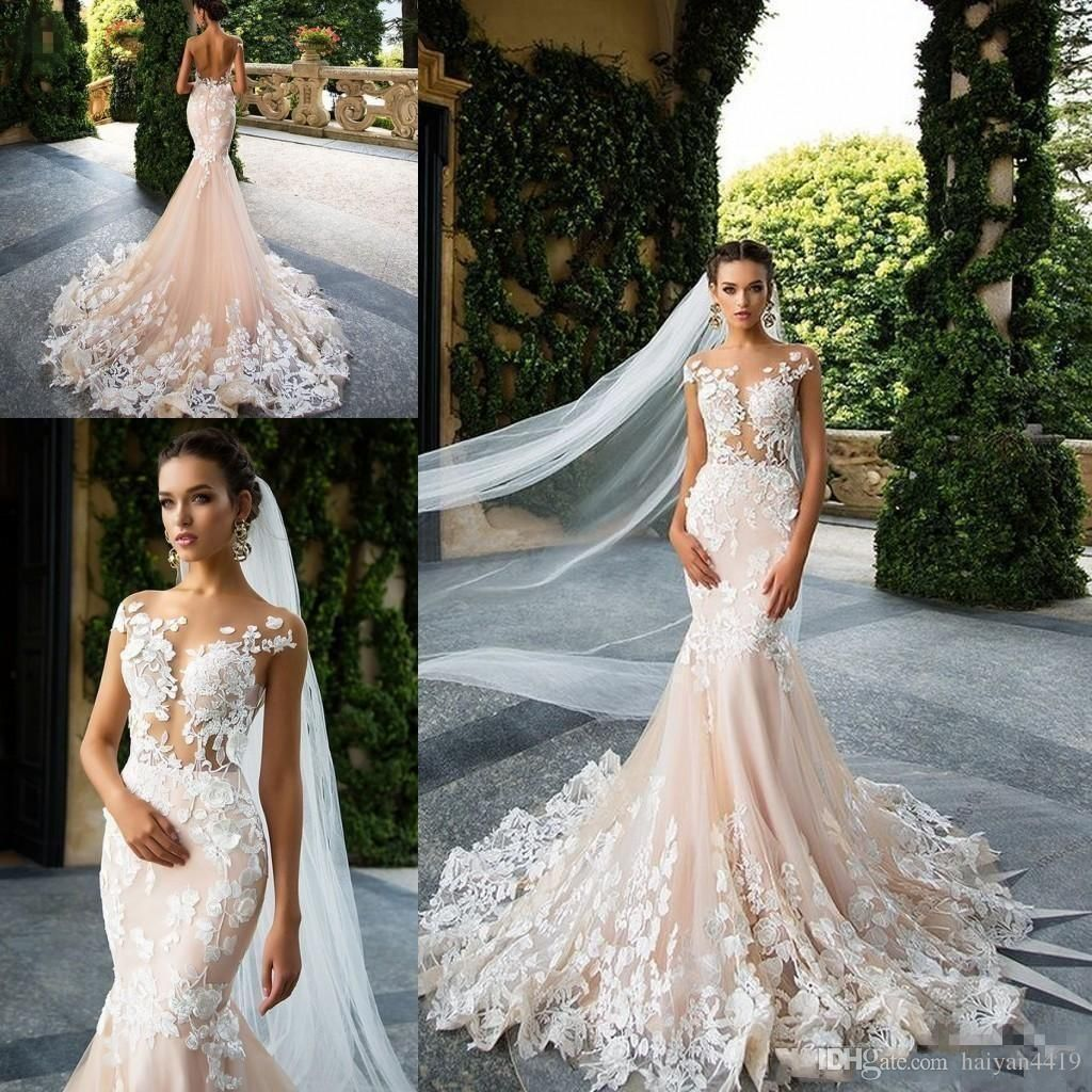 d9b4b7600171 Milla Nova 2017 New Mermaid Wedding Dresses Illusion Cap Sleeves 3D Floral  Lace Appliques Backless Court Train Custom Formal Bridal Gowns Plus Size  Wedding ...