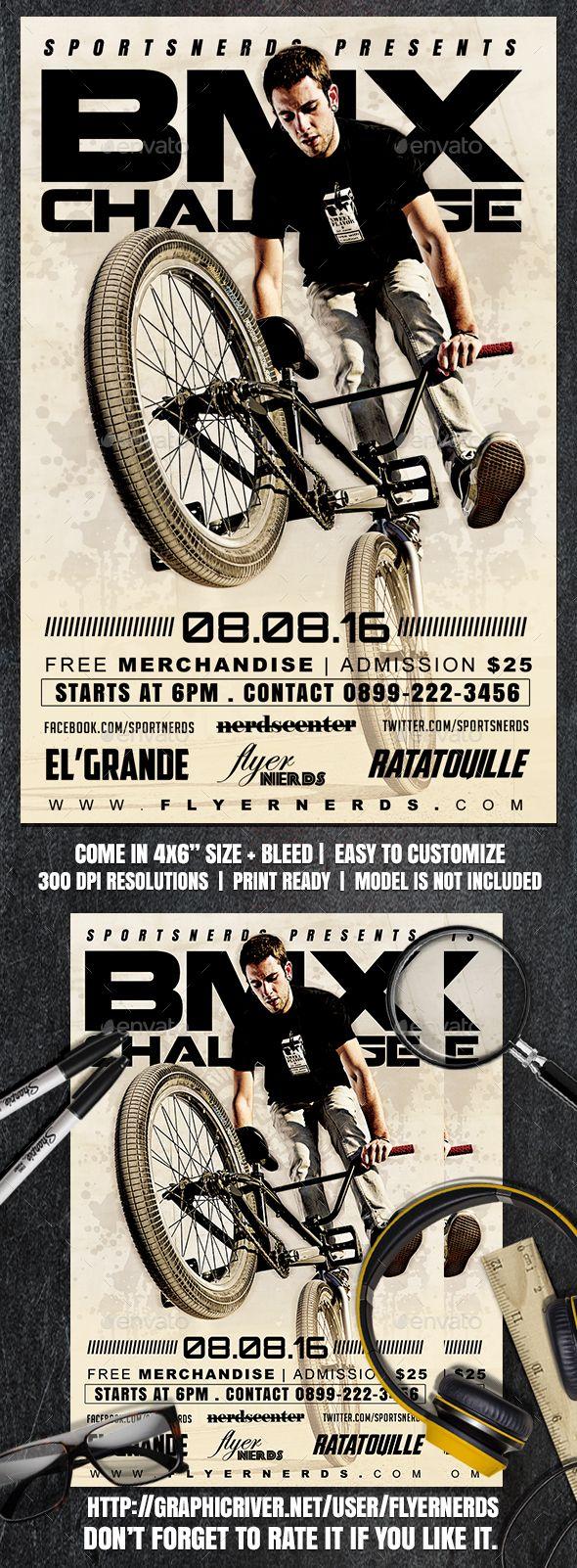 BMX Challenge Sports Flyer Design Template - Sports Events Flyer ...