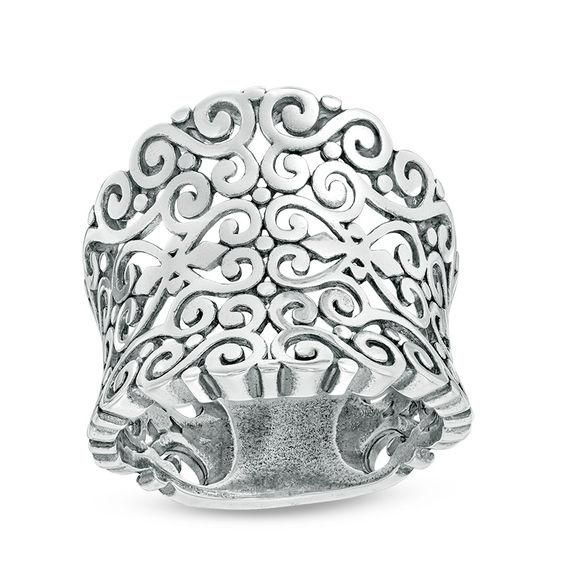 ZALES - Zales Oxidized Filigree Ring in Sterling Silver at Zales - AdoreWe.com