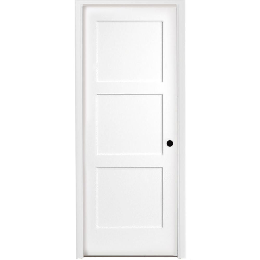 Steves Sons 32 In X 80 In 3 Panel Equal Shaker White Primed Lh Solid Core Wood Single Prehung Interior Door With Bronze Hinges Prehung Interior Doors Diy Interior Doors Solid