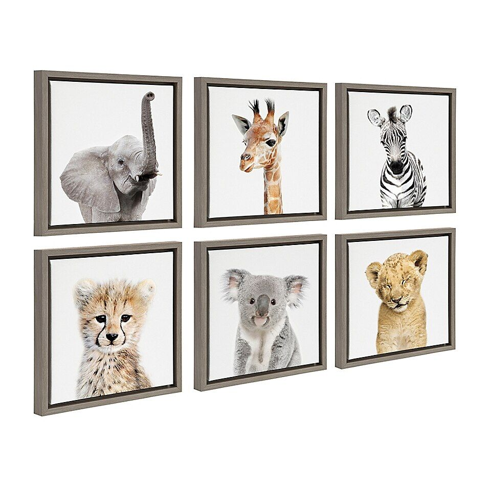 Kate And Laurel Sylvie Safari Animals 13 Inch Frame Canvas Wall Art Set Of 6 Bed Bath Beyond In 2020 Framed Canvas Wall Art Canvas Wall Art Set Framed Canvas Art