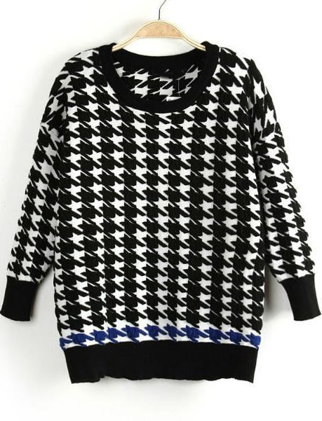 Shop Black Long Sleeve Houndstooth Knit Sweater online. Sheinside offers Black Long Sleeve Houndstooth Knit Sweater & more to fit your fashionable needs. Free Shipping Worldwide!