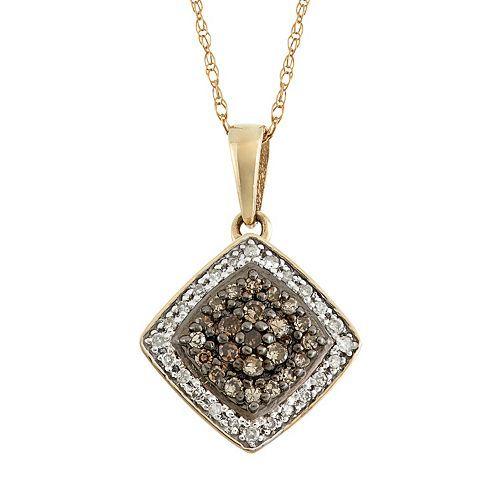 YellOra 1/4 Carat T.W. Champagne and White Diamond Rhombus Pendant Necklace