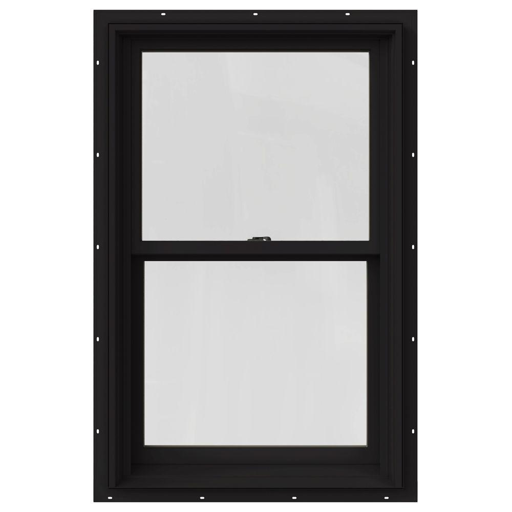 Jeld Wen 33 375 In X 48 In W 2500 Series Black Painted Clad Wood Double Hung Window W Natural Interior And Screen Jw1446 00182 The Home Depot In 2020 Double Hung Windows Clad Wood