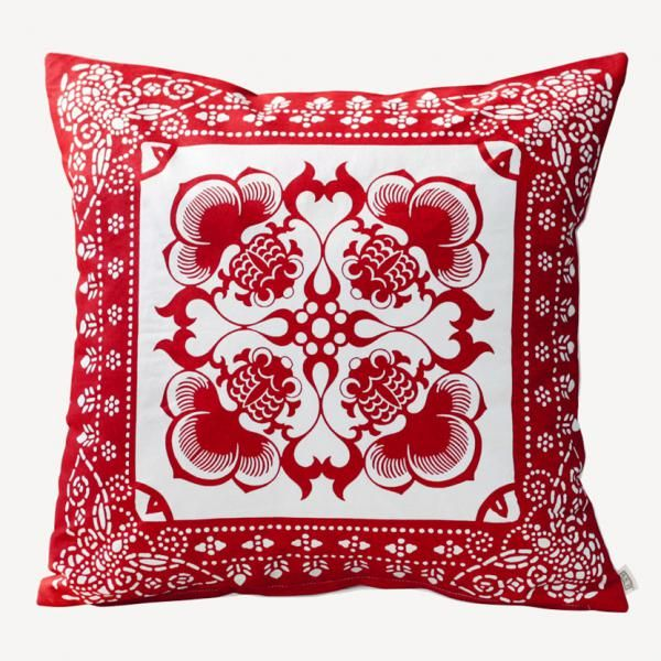 Goldfish paper cut pillow cover design Chinese style red sofa