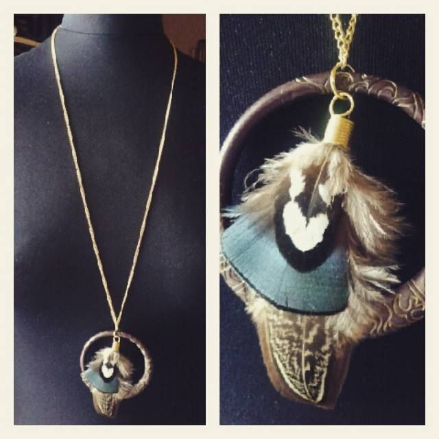 ND - 494 (Necklace) Gold iron chain with dark brown ring and feather pendant. $36 (SOLD)