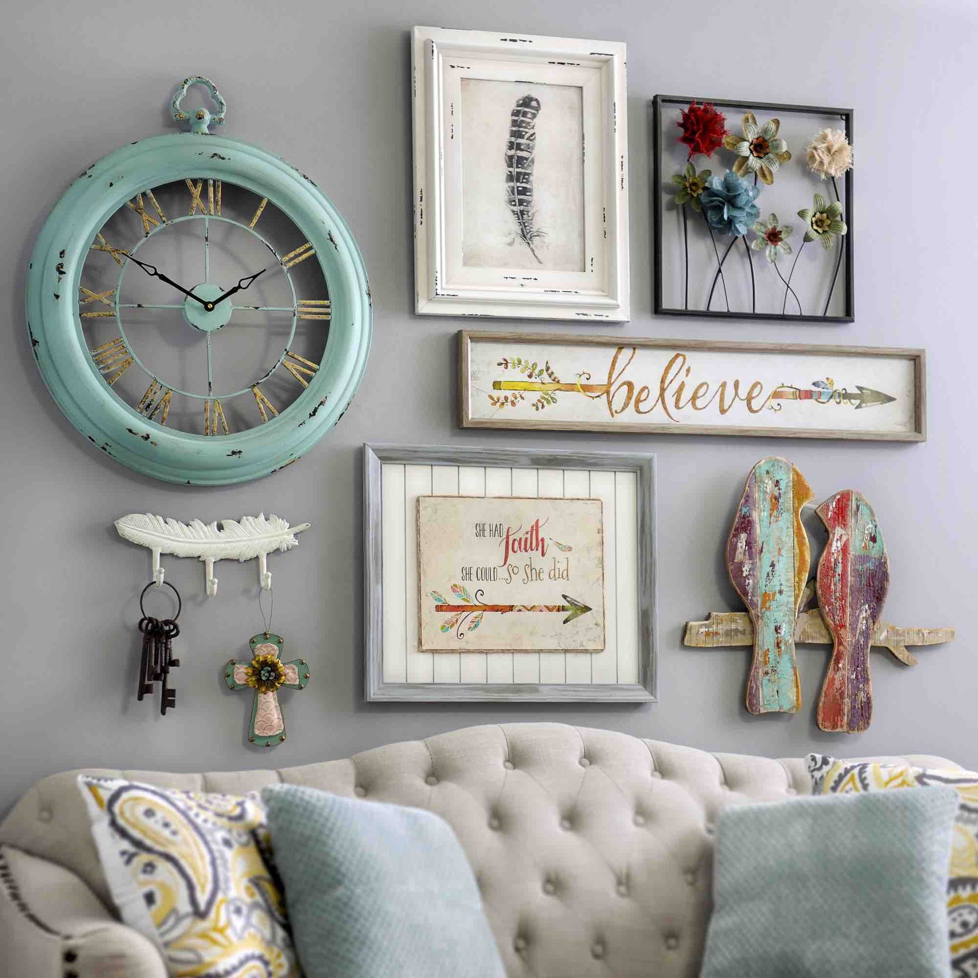 Bring a shabby chic charm to your home by adding pieces of for Shabby chic wall art