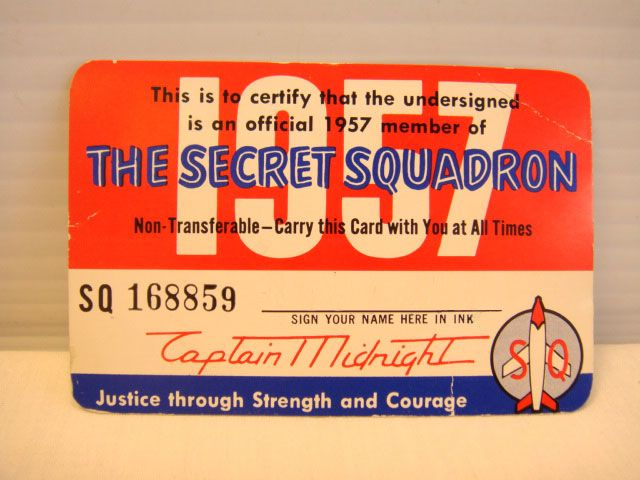 Membership Card For Captain MidnightS Secret Squadron