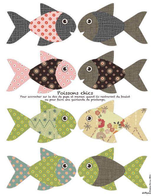 peces para un móvil, para pescar, para un mar de carton ...