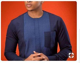 Fonction de Ana africain vêtements pour hommes, bleu et gris broderie africaine Dashiki, dashiki de bal sur mesure hommes dashiki, costume de mariage africain
