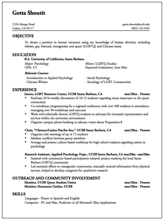 Pin By Latifah On Example Resume Cv    Lgbt Resources