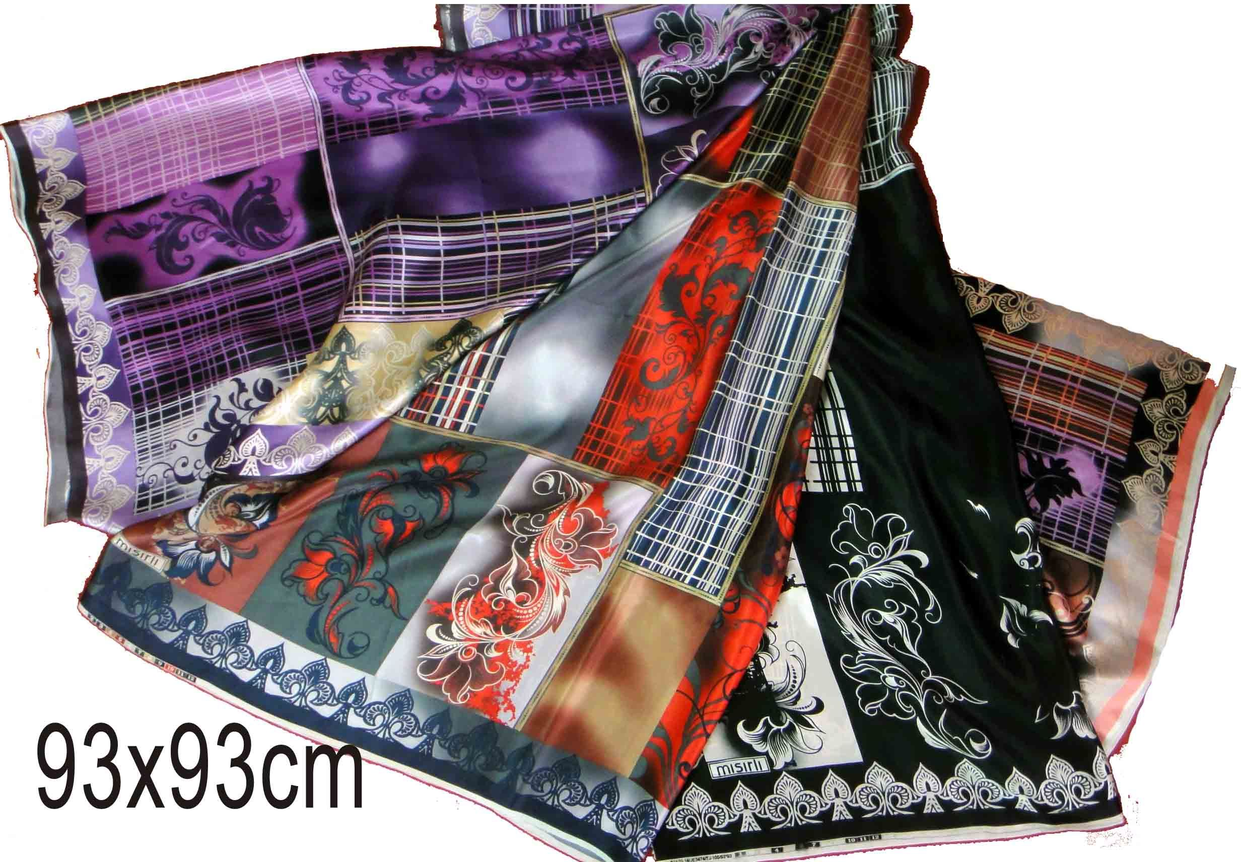 Square scarf, size-86X86cm, Fabric can be made as your request.  MOQ: 200pcs per color. Handrolled the edge.