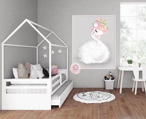 Boho Swan Baby Girl Nursery Wall Art Print Ethereal Pink