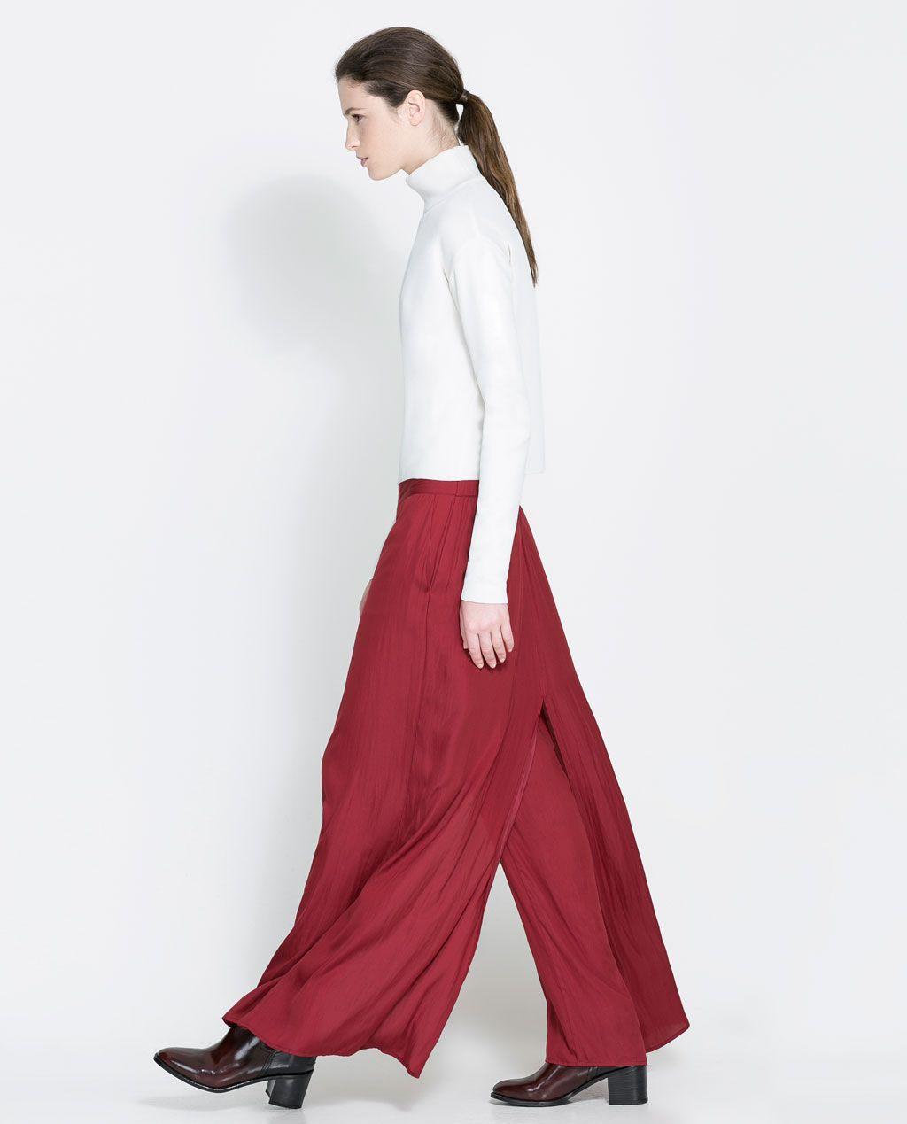 Zara woman long wideleg trousers zara lookbook pinterest