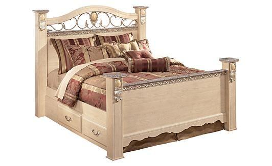 Sanibel Queen Poster Bed w/ Storage ...