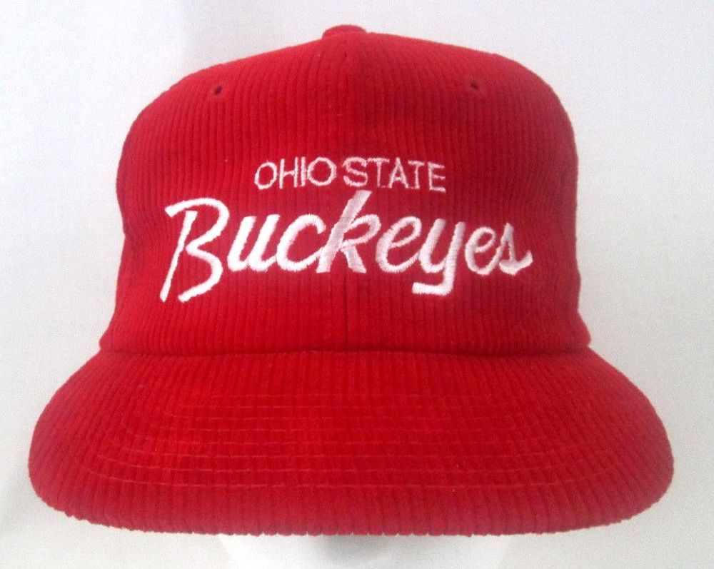 Vintage Ohio State Buckeyes Red Corduroy Adult Snapback