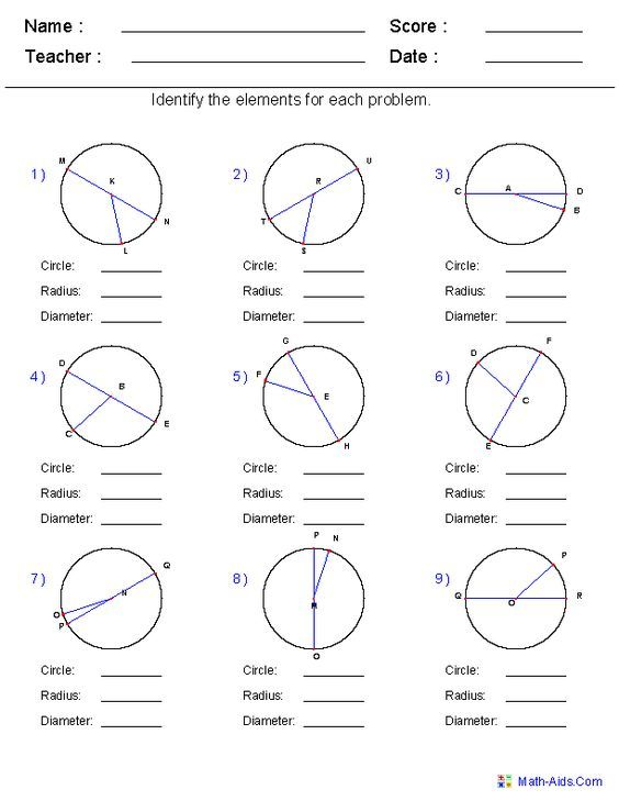 Identify Circle Radius And Diameter Worksheets With Images Geometry Worksheets Circle Geometry Geometry Lessons