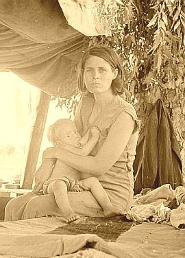 A young mother on the road during the Great Depression - FSA collection/Library of Congress