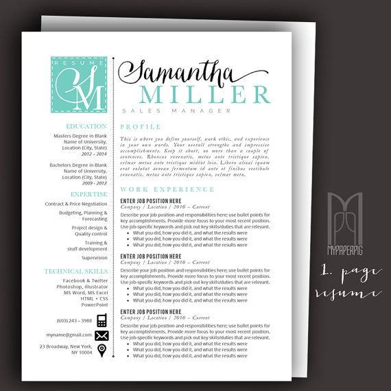 Resume  Pack No   Teal Samantha Miller Templates Are Fully