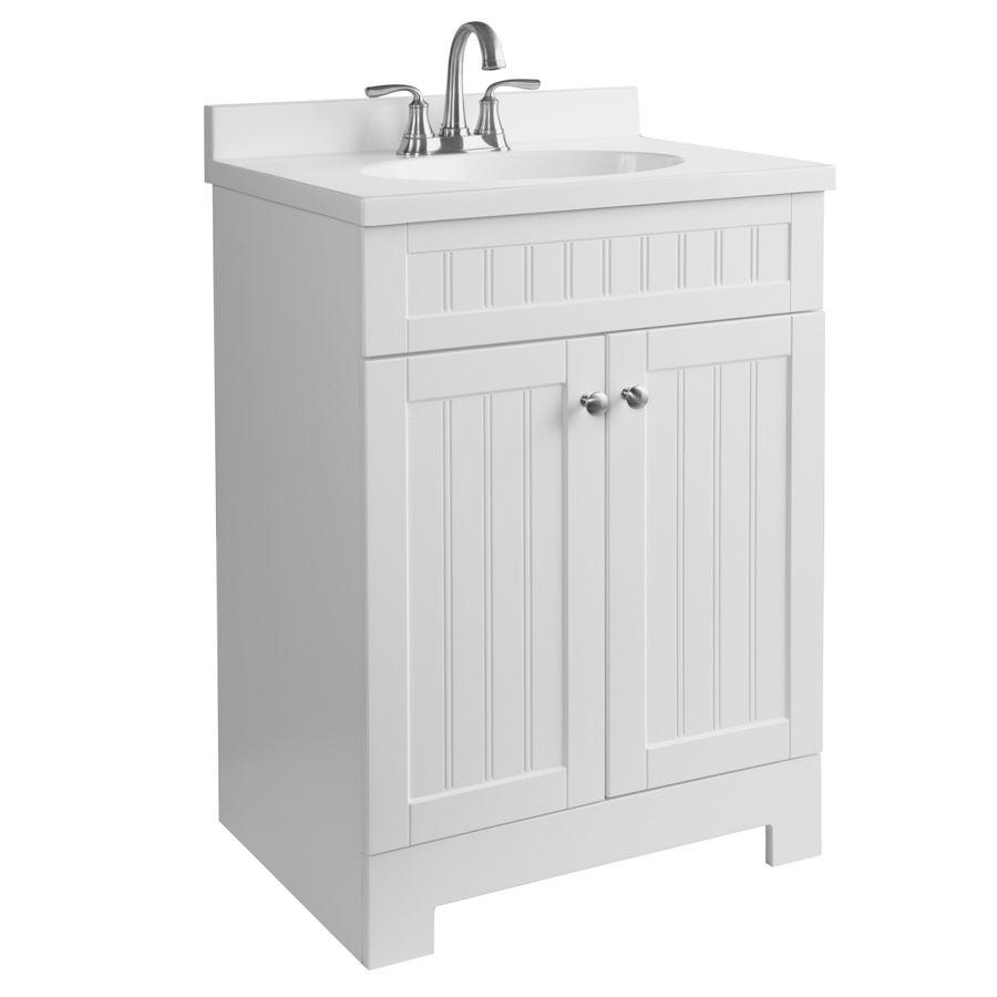 Shop Style Selections Ellenbee White Integral Single Sink Bathroom Vanity With Cultured Mar Bathroom Vanity Painted Vanity Bathroom Single Sink Bathroom Vanity