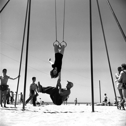 "Loomis Dean—The LIFE Picture Collection/Getty Images Not published in LIFE. April Atkins, ""the world's strongest seventh-grader,"" Muscle Beach 1954"