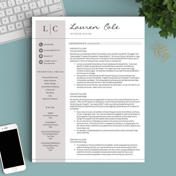 Creative Resume Template for Word  Pages 1, 2 and 3 Page Resume