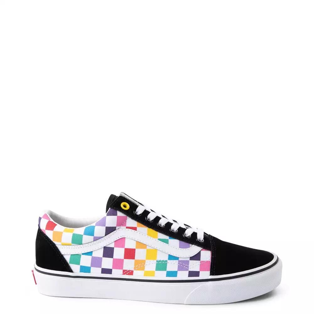 rainbow checkerboard vans size 4 off 51