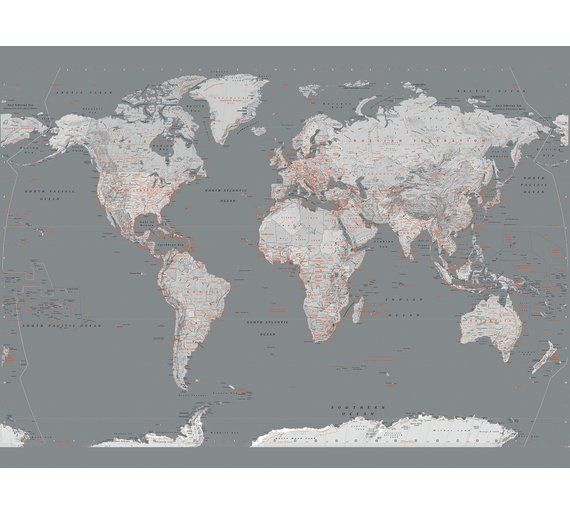 Buy 1wall grey map of the world mural at argos visit argos antique oceans world political map wall mural miller projection gumiabroncs Images