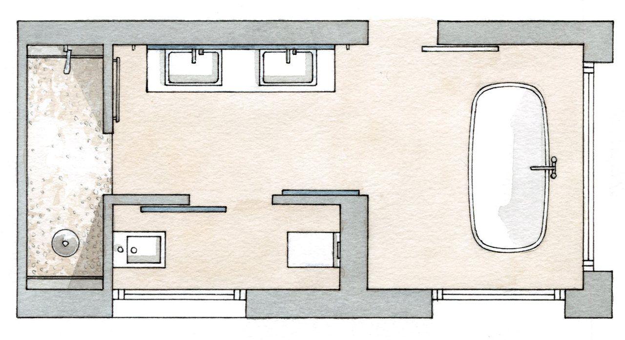 Distribuci N Sim Trica Suite Con Vestidor Y Ba O Pinterest  ~ Distribucion De Baños Rectangulares