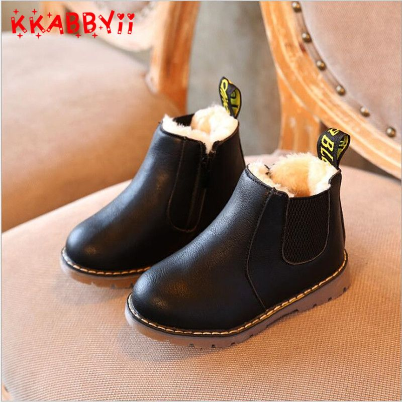 Kids Girls Shoes Ankle Boots British Style Martin Boots Kids Warm Boots