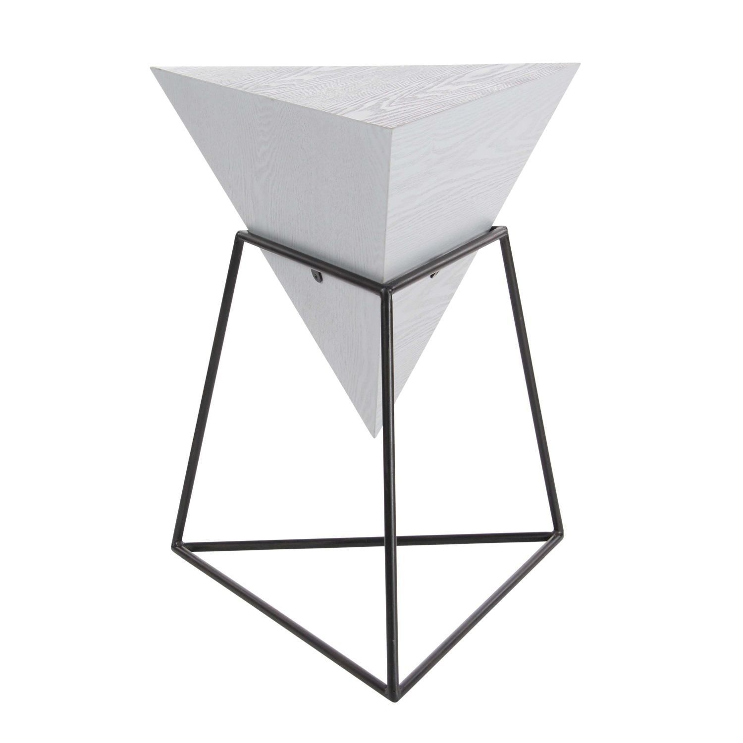 Pleasing Modern 24 Inch Pyramid Gray Block Wooden Accent Table By Caraccident5 Cool Chair Designs And Ideas Caraccident5Info