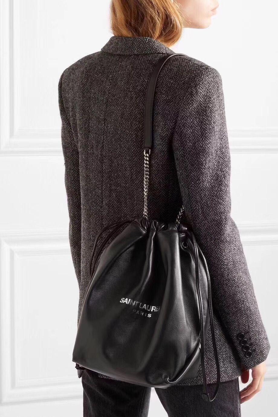 52d9253f711 Ysl Saint Laurent woman teddy drawstring bucket chain shoulder bag ...