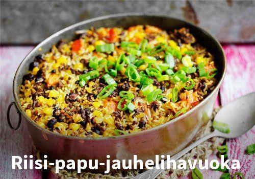 Riisi-papu-jauhelihavuoka Resepti: Valio #kauppahalli24 #ruoka #resepti #jauhelihavuoka