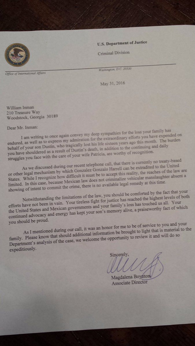 Letter from U.S. Justice Dept to Billy Inman Re: his 16 yr-old son, Dustin, killed by an illegal. NOTHING WE CAN DO!