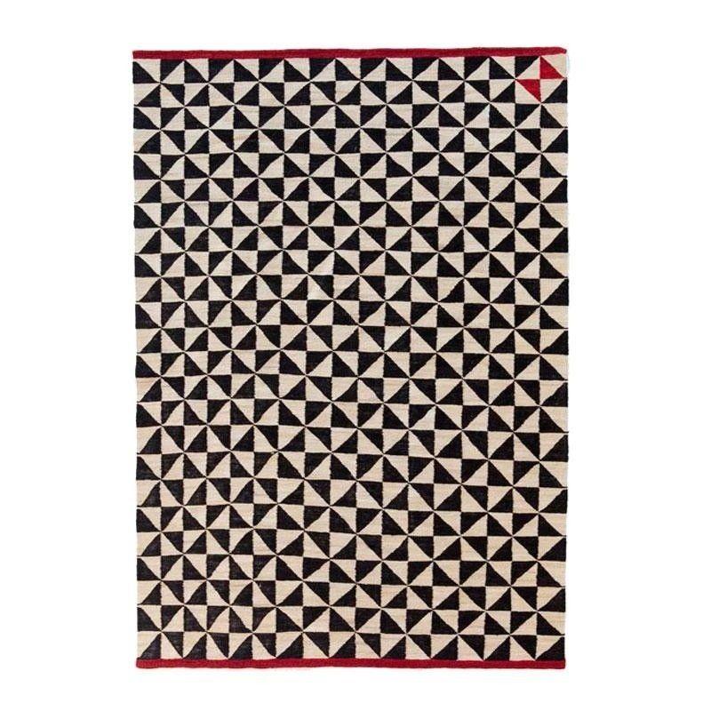 Teppich weiß schwarz  Mélange Pattern 2 Kilim Woll-Teppich - schwarz-weiß- rot/170x240cm ...