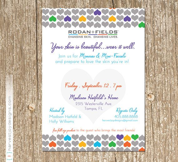 The Original I  HEART  Rodan + Fields consultant event - invitation card event