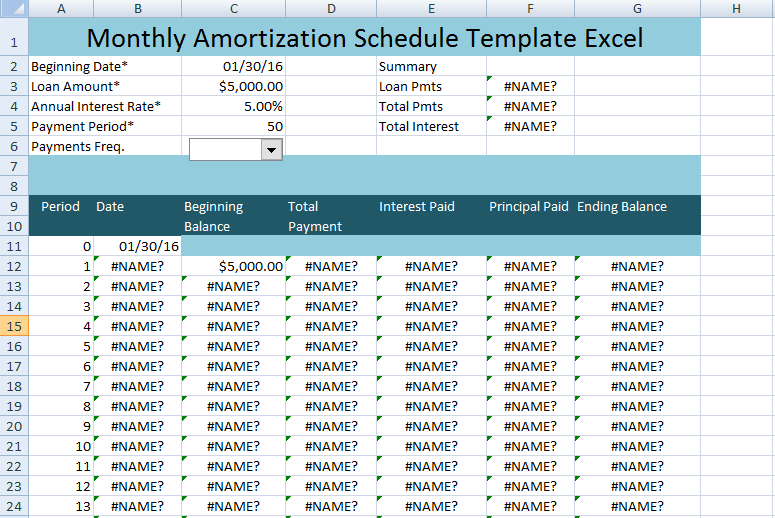 monthly amortization schedule excel