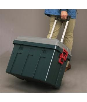 Iris Rolling Storage Trunk Has Wheels A Telescoping Handle And Heavy Duty Buckles