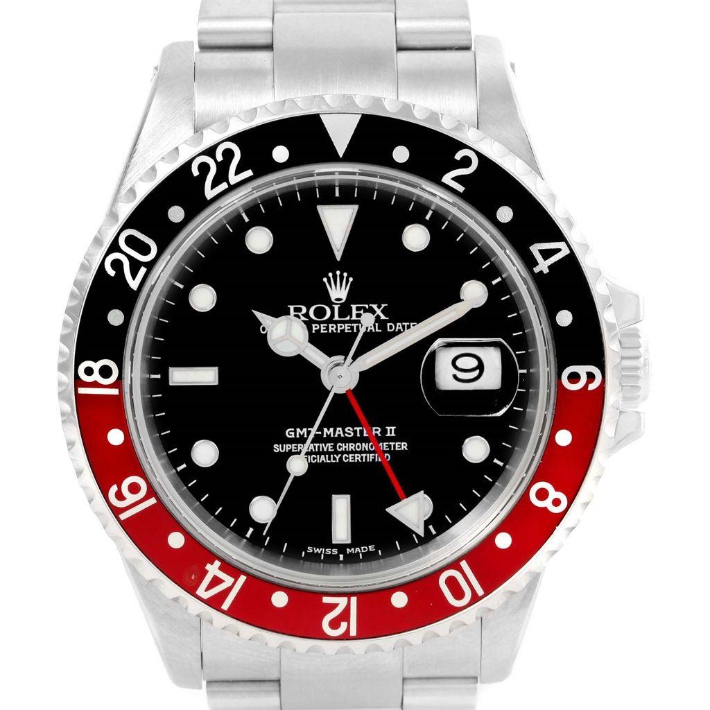 cabc12727dc 15161 Rolex GMT Master II Black Red Coke Bezel Steel Mens Watch 16710  SwissWatchExpo