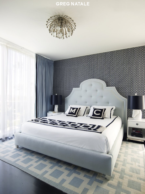 bedrooms - blue silk drapes navy blue geometric wallpaper Jonathan Adler Anemone Pendant Jonathan Adler Horse Head Lamp Jonathan Adler Woodhouse Bed Jonathan Adler Light Blue Richard Nixon Rug Jonathan Adler Richard Nixon Throw Jonathan Adler Channing End Table