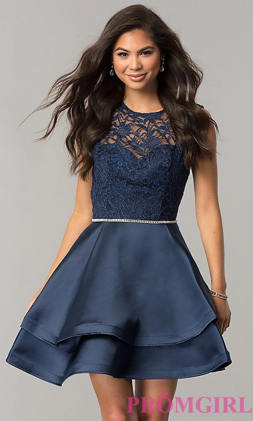 ba3be910 Image of lace-bodice short homecoming dress with satin skirt. Style: DQ-2011  Front Image