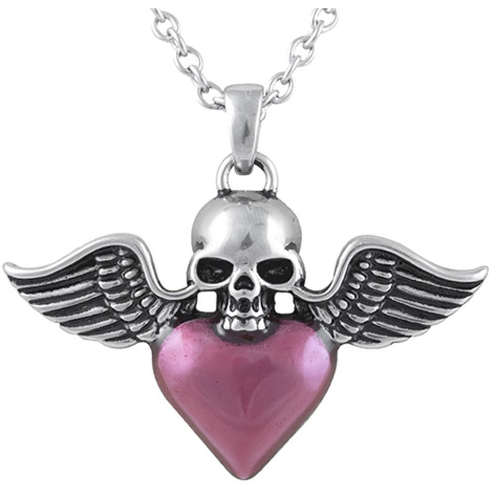 Controse Jewelry Winged Skull & Heart Necklace