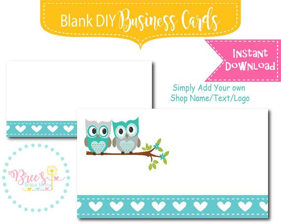 Instant Download Blank DIY Business Card design template Blank Add - blank business card template