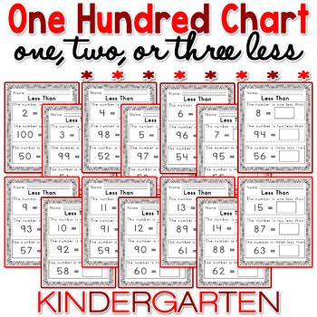 Worksheets For 100 Hundred Chart One Two Three Less Than