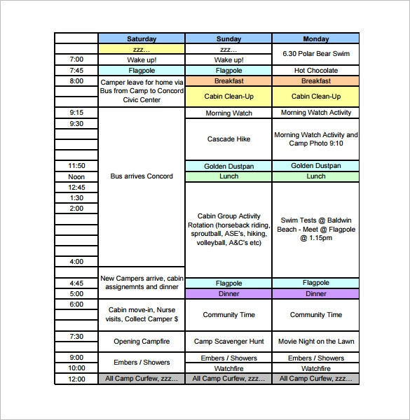 Editable Girls Camp Schedule - Google Search